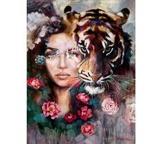 Steadfast Heart - an original portrait oil painting by Dimitra Milan that features a young woman with a tiger, surrounded by flowers. Dimitra Milan, Aztecas Art, Surreal Artwork, Art Drawings Beautiful, Tiger Art, Portrait Art, Art Inspo, Amazing Art, Art Photography