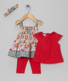 Red floral dress set by Cutey Couture @ zulily.com
