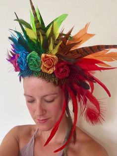 Second Line Parade, Feather Crown, Flower Headdress, Flower Festival, Disney Diy, Sculpture Clay, Over The Rainbow, Summer Crafts, Gay Pride
