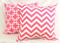 Decorative Pillows Cushions Cover - Chevron Hot Pink & White - 18 x 18 Accent Throw Pillow - Baby Nursery Decor. $16.00, via Etsy.