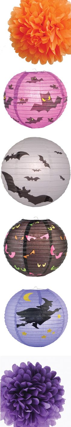 a white paper lantern with a battery operated LED remote controled - bulk halloween decorations