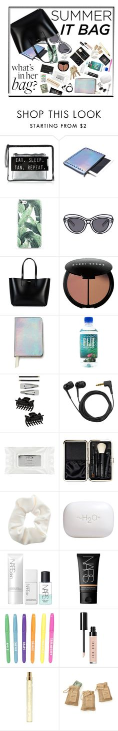 """""""What's in her summer bag ?"""" by voguefashion101 ❤ liked on Polyvore featuring Mohzy, Ksubi, Yves Saint Laurent, Bobbi Brown Cosmetics, Kate Spade, Chapstick, Dorothy Perkins, Sennheiser, Stila and Passport"""