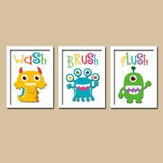 wash brush flush monsters bathroom artwork set of 3 trio prints wall decor instructions kid children art picture bath shower curtain