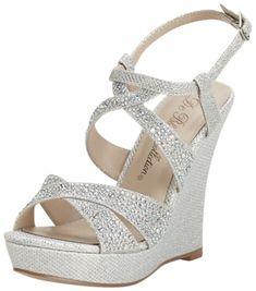 David's Bridal High Heel Wedge Sandal with Crystal Embellishment Style Silver Metallic, 10 Silver Wedge Sandals, Silver Wedges, Wedge Shoes, Women's Shoes, Bridal Wedges, Wedding Flats, Prom Heels, Davids Bridal, High Heels
