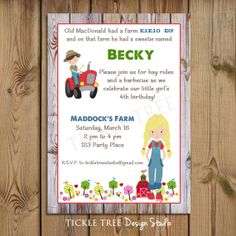 PRINTABLE Birthday Invitation - Old MacDonald Had a Farm - PERSONALIZED (Style 13166)