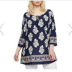 ITS HERE ! BORDER PRINT TOP NWT Floral pattern and gorgeous blue color top, with scoop and very flowy style. Tops