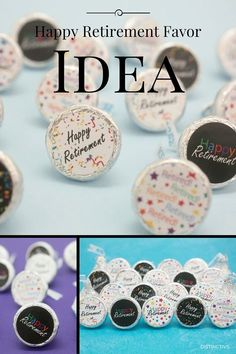 Happy Retirement! Looking for a unique idea for a retirement party or office celebration? Create your own DIY customized Hershey Kisses with Retirement Stickers in 5 fun designs that will make everyon