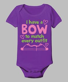 Country Casuals Purple 'A Bow To Match Every Outfit' Bodysuit - Infant by Country Casuals #zulily #zulilyfinds