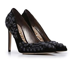 """Sam Edelman • Dani' Beaded Pointy Toe Pump Opulent beadwork makes this pointy-toe pump anything but ordinary. A dash of smooth leather at the back plays peekaboo with the lush suede style. • 4"""" heel. • Suede upper/synthetic lining and sole. Sam Edelman Shoes Heels"""