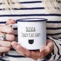 Personalised Cat Lady Enamel Mug van SophiaVictoriaJoy op Etsy