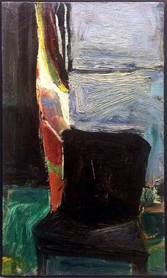 Richard Diebenkorn - Interior with Chair Richard Diebenkorn, Robert Motherwell, Cy Twombly, Joan Mitchell, Camille Pissarro, Paul Gauguin, Abstract Expressionism, Abstract Art, Chair Drawing