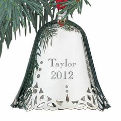 Personalized Silver-Plated Christmas Bell Ornament - SkyMall