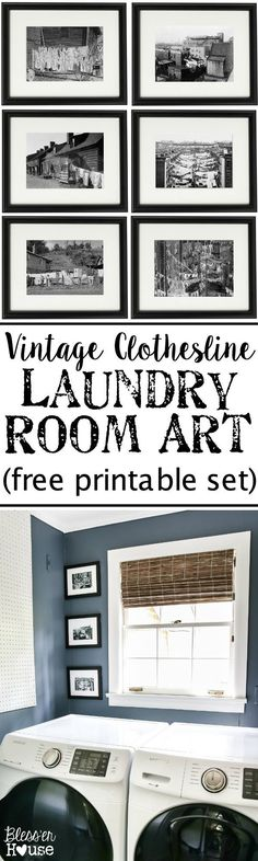 Vintage Clothesline Laundry Room Art Printable Set | blesserhouse.com - A free downloadable printable set of 6 vintage black & white clothesline cityscape and countryscape photos perfect for framing in a laundry room. #freeprintables #laundryroom