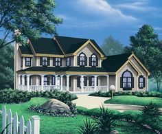 See the Huntington Country Home that has 3 bedrooms, 3 full baths and 1 half bath from House Plans and More. See amenities for Plan House Plans And More, Dream House Plans, Small House Plans, House Floor Plans, Southern House Plans, Country Style House Plans, Country Farmhouse Decor, Great Rooms, Future House