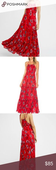 "free People Garden Party Maxi Dress Femme floral printed maxi dress featuring a stretchy smocked bodice and an effortless silhouette. ◦Adjustable tie straps ◦Tiered design ◦Lightweight, semi-sheer fabrication  •100% Rayon •Hand Wash Cold Measurements: •Bust (Relaxed): 26.5""  •Waist: 26""  •Length (From Top of Bodice): 52.5"" Tag is a partial cut store tag Free People Dresses Maxi"