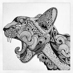 Wildcat. Ink on Paper.  by Alicia Munk  munkadelic.wordpress.com