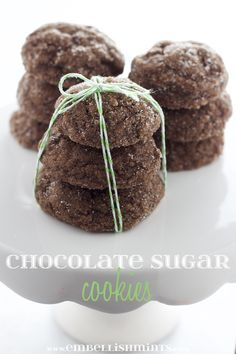 Chocolate Sugar Cookies - So simple yet so good! Chocolate lovers will love this new twist on the traditional sugar cookie! www.Embellishmints.com
