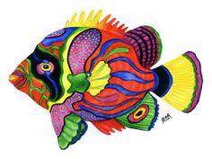 Tropical Fish Painting by Artist Barbara Ann Robertson Colorful Fish, Tropical Fish, Fisher, Watercolor Fish, Wood Fish, Exotic Fish, Silk Painting, Exotic Pets, Rock Art