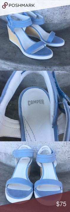 "Camper Limi Ankle Wrap Wedge Sandal Blue No trades! Perfect condition, new! Size 40. Runs a little small, similar to other camper styles. Velcro ankle strap. White rubber with wood wedge heel. Light blue leather. 3"" heel. Camper Shoes Sandals"