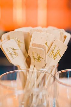 Drink Flags | See more on Style Me Pretty:  http://www.StyleMePretty.com/mid-atlantic-weddings/2014/03/13/gold-sparkly-kimmel-center-wedding/ Lauren Fair Photography