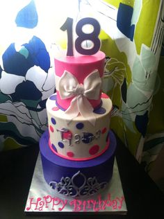 18th Birthday Cake! Birthday Cakes For Teens, 18th Birthday Cake, Cool Birthday Cakes, Teen Birthday, Birthday Ideas, Beautiful Wedding Cakes, Cakes And More, Party Themes, November