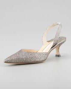 www.manoloblahnik.com, Manolo Blahnik, Carolyne Glittered Low-Heel Halter Pump, bride, bridal, wedding shoes, bridal shoes, wedding, bride shoes, silver shoes, haute couture, designer shoes