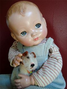 """1948 Effanbee MISCHIEVIOUS MICKEY Baby Boy Doll 19"""" with Flirty Eyes OrigClothes"""