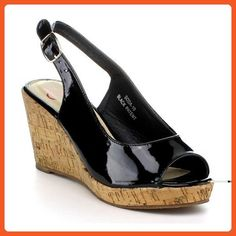 BellaMarie Soda-10 Women Peep Toe Cork Platform Wedge Pump Shoe Slingback Sandal, Color:BLACK, Size:6 - Sandals for women (*Amazon Partner-Link)