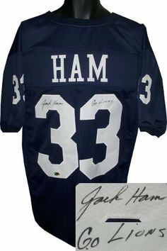 eb1cd384d Jack Ham Autographed Hand Signed Penn State Nittany Lions Navy Custom Jersey  Go Lions by