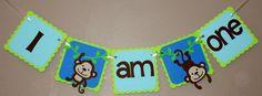 Monkey Highchair Banner/ Monkey Banner/ First Birthday/ Monkey