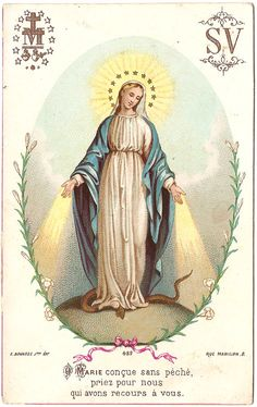 Blessed Mother Mary Miraculous Medal Antique by 12StarsVintage