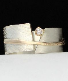 Between You and Me by Dagmara Costello | Gold, Silver & Stone Wedding Band