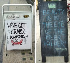 Funny Sandwich Board Signs Previously: Funny Business Signs Sandwich Board Signs, Tastefully Offensive, Pub Signs, Business Signs, Wall Plaques, Signage, Laughter, Beer, Humor