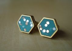 Turquoise Confetti Hexagon Earrings » These are gorgeous!
