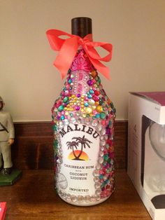 Bedazzled Malibu bottle for my Big's 21st