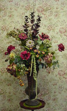 Winter Floral Arrangements, Fake Flower Arrangements, Silk Floral Arrangements, Flower Centerpieces, Church Flowers, All Flowers, Wedding Flowers, Victorian Flowers, Japanese Flowers