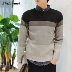 2017 New Arrival Knitted Sweater Men Casual Pullover Tricot Blusas Autumn Round Neck Patchwork Gradient Male Jumper Sweater Tops #Affiliate