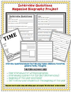 Biography Writing - Interview Questions and Magazine Final Copy Kids Reading, Reading Activities, Writing Workshop, Writing Prompts, Biography Project, 6th Grade Social Studies, Sixth Grade, Third Grade, Beginning Of The School Year