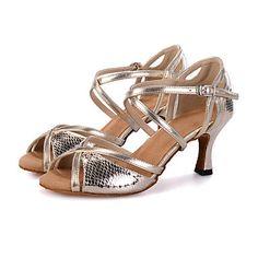37074b81e Women's Dance Shoes Latin Leatherette Flared Heel Customizable - USD $  18.89 Latin Shoes