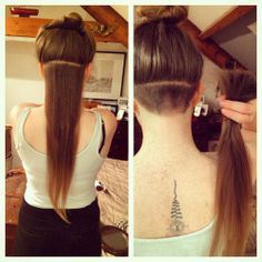 elissastevens:  Undercut!                  #undercut #hairyback #unalome #tattoo #diy #long #hair