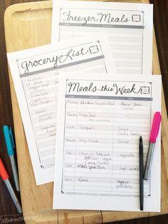 Printable meal plan organizing kit by Jen Goode