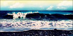 Thetys - Zoagli - Pittura,  60x30 cm ©2003 da ThalArt -                                                              Arte figurativa, Tela, Paesaggio marittimo, Thetys, Mareggiata, Zoagli, Marina, Acrilico, ThalArt, Thalita tonon