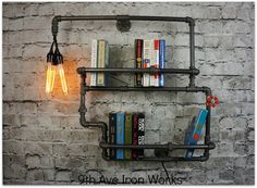 Lighted Brighton Two Tiered Iron Bookshelf by 9thAveIronWorks on Etsy https://www.etsy.com/listing/216359744/lighted-brighton-two-tiered-iron