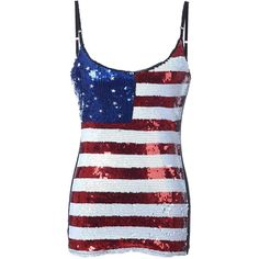 8424c3b62a3919 USA Flag Sequin Tank Top with Small Fit -- American Patriotic Womens.