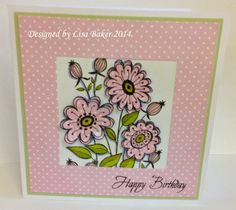 Handmade card. Woodware Clear Magic stamps. Paper piecing. Anna Marie Designs dottie card.