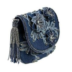Mary Frances Good Jeans Mini Denim Blue Flower Mini Bag