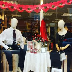 Is he too nervous to pop the question? Moorland Road Charity Emporium shop window goes all romantic for Valentine's Day.  Men's ties from £1, shirts from £2.50.
