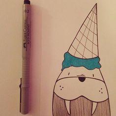 Where is my ice-cream?! #illustration #illustrazione #instaillustration #art #arte #artist #instaart #instaartist #draw #drawing #instadrawing #gelato #icecream #tricheco #walrus #cute #drawingfish #instagram #follow #creative #creativity #pendrawing