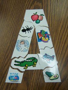 Preschool Alphabet Activities- make letter puzzles - posterboard letter and clip art Kindergarten Literacy, Early Literacy, Preschool Learning, Alphabet Activities, Literacy Activities, Preschool Alphabet, Abc Alphabet, Flannel Friday, Learning Letters
