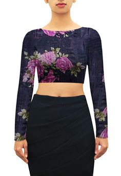 Rose print on black tussar boar neck blouse. Design your own now. www.houseofblouse.com